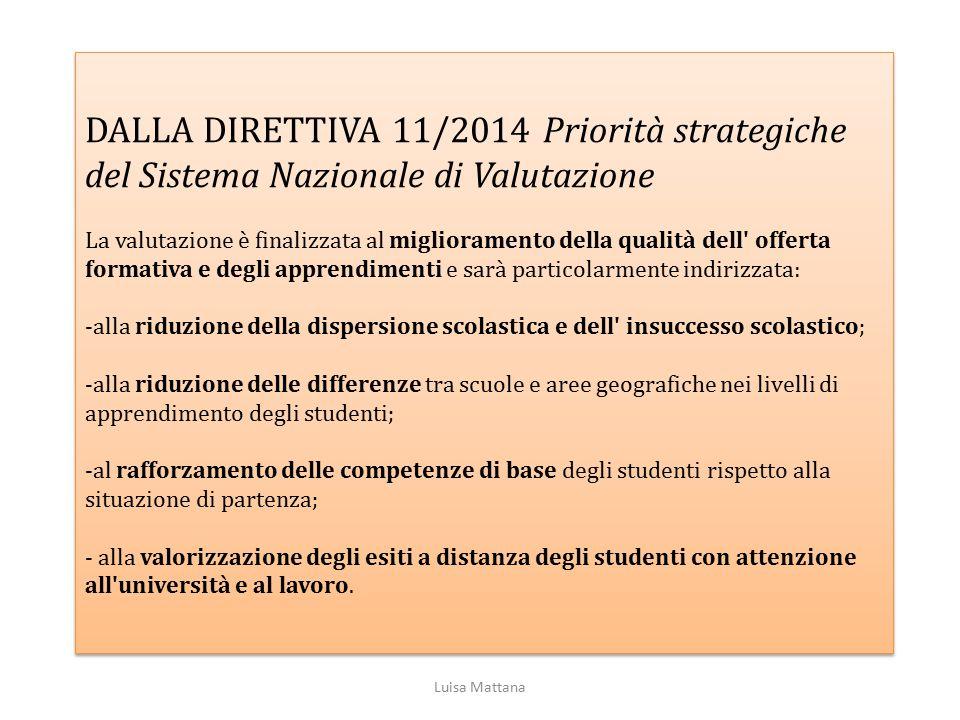 DALLA DIRETTIVA 11/2014 Priorità strategiche del Sistema Nazionale di Valutazione La valutazione è finalizzata al miglioramento della qualità dell' of