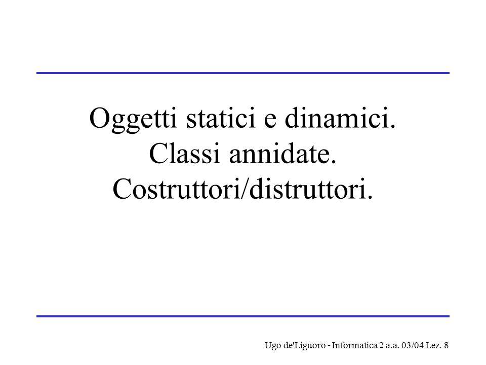 Ugo de'Liguoro - Informatica 2 a.a. 03/04 Lez. 8 Oggetti statici e dinamici. Classi annidate. Costruttori/distruttori.
