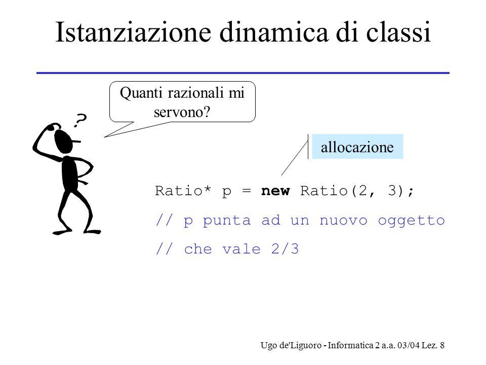Ugo de'Liguoro - Informatica 2 a.a. 03/04 Lez. 8 Istanziazione dinamica di classi Quanti razionali mi servono? Ratio* p = new Ratio(2, 3); // p punta