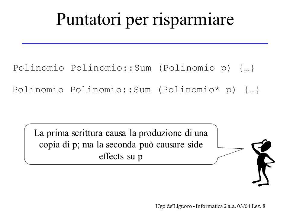 Ugo de'Liguoro - Informatica 2 a.a. 03/04 Lez. 8 Puntatori per risparmiare Polinomio Polinomio::Sum (Polinomio p) {…} Polinomio Polinomio::Sum (Polino