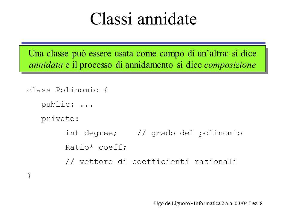 Ugo de'Liguoro - Informatica 2 a.a. 03/04 Lez. 8 Classi annidate Una classe può essere usata come campo di un'altra: si dice annidata e il processo di