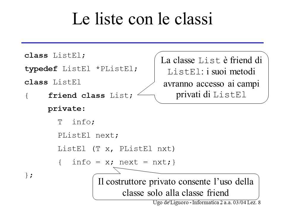 Ugo de'Liguoro - Informatica 2 a.a. 03/04 Lez. 8 Le liste con le classi class ListEl; typedef ListEl *PListEl; class ListEl { friend class List; priva