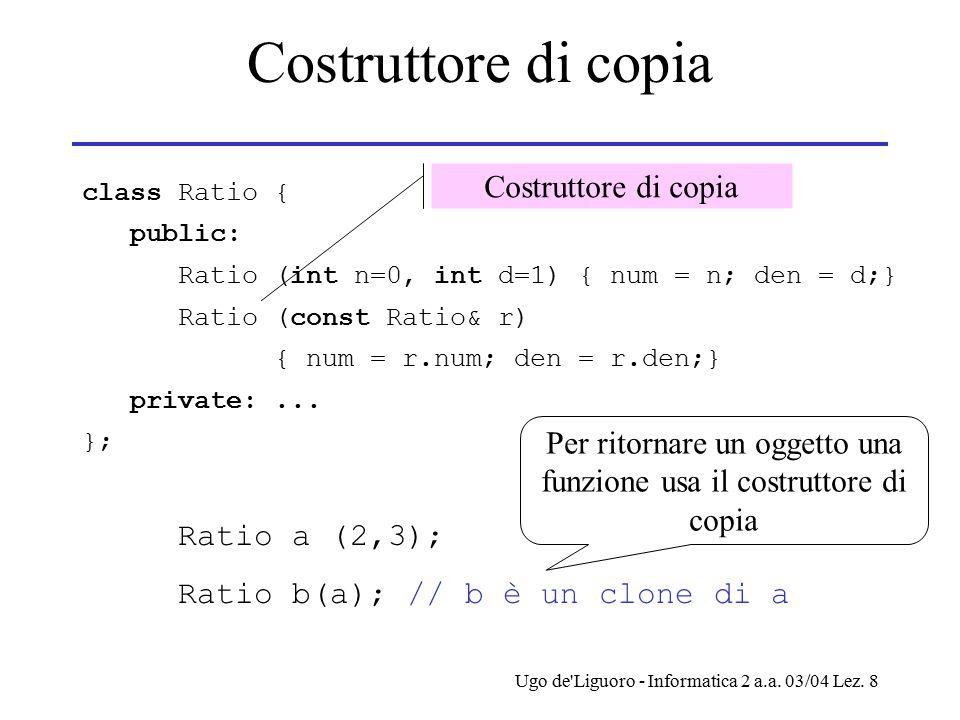 Ugo de'Liguoro - Informatica 2 a.a. 03/04 Lez. 8 Costruttore di copia class Ratio { public: Ratio (int n=0, int d=1) { num = n; den = d;} Ratio (const