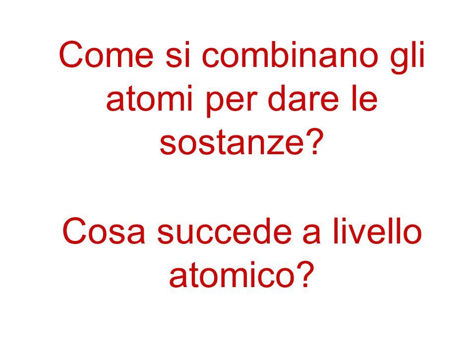 Come si combinano gli atomi per dare le sostanze? Cosa succede a livello atomico?