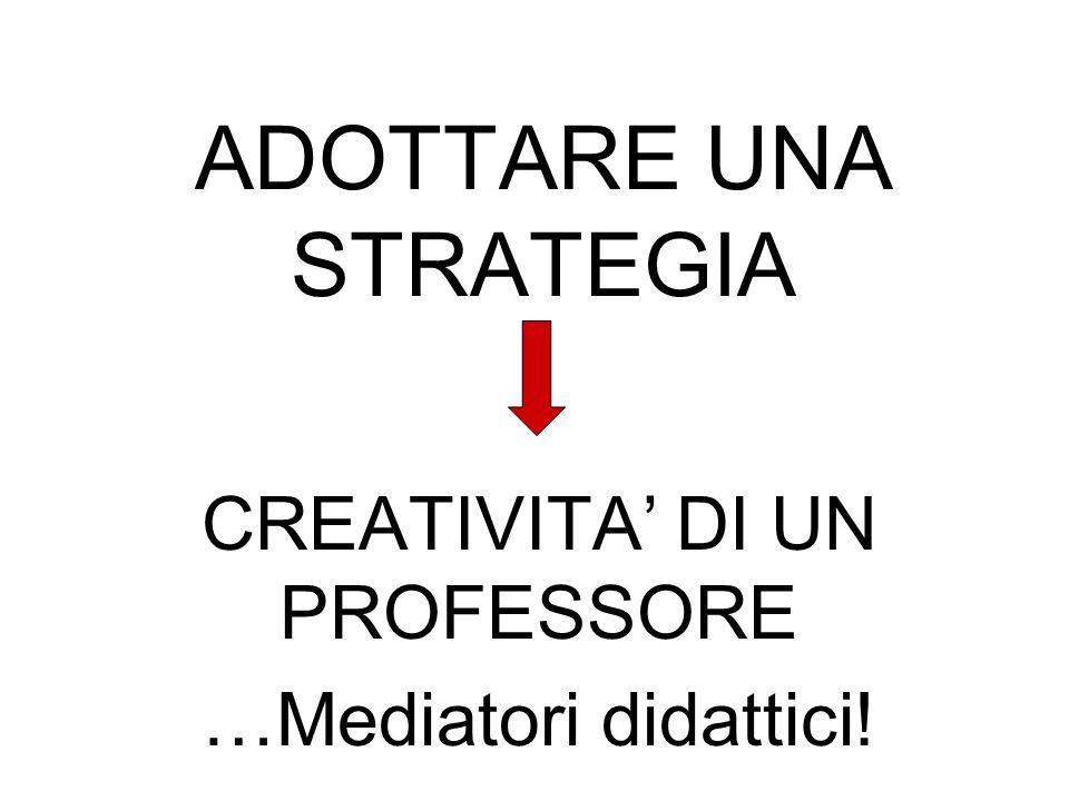ADOTTARE UNA STRATEGIA CREATIVITA' DI UN PROFESSORE …Mediatori didattici!