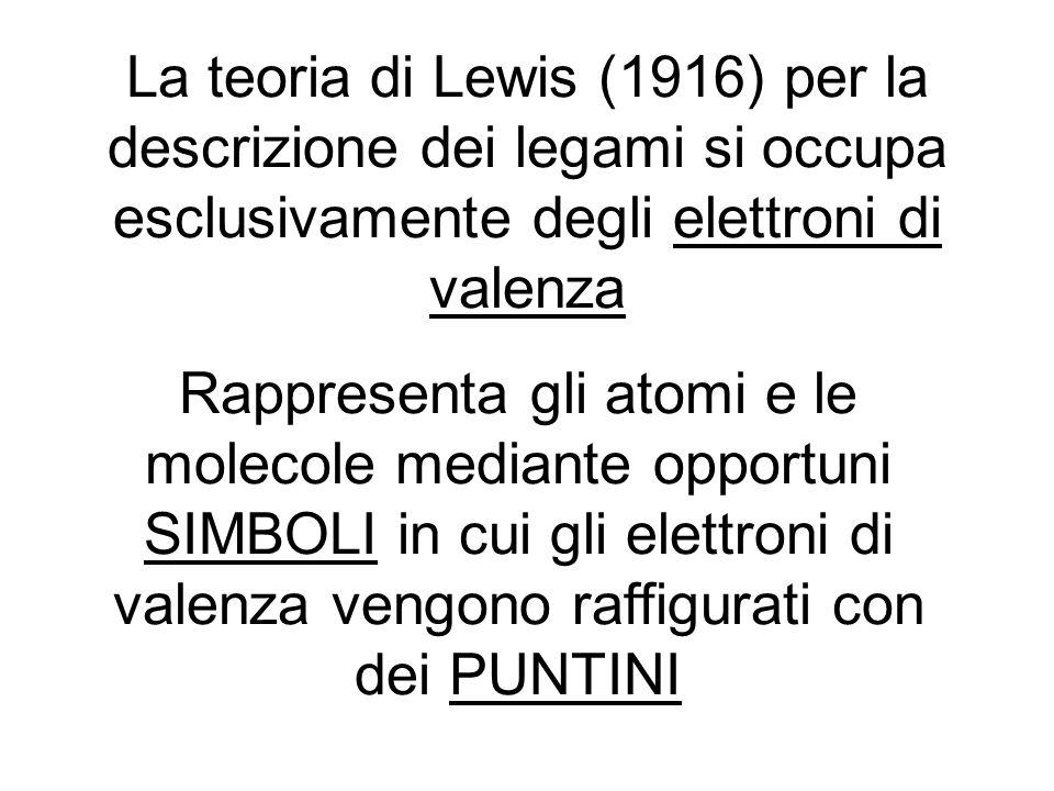 La teoria di Lewis (1916) per la descrizione dei legami si occupa esclusivamente degli elettroni di valenza Rappresenta gli atomi e le molecole median