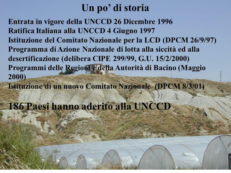 2 Un po' di storia Entrata in vigore della UNCCD 26 Dicembre 1996 Ratifica Italiana alla UNCCD 4 Giugno 1997 Istituzione del Comitato Nazionale per la