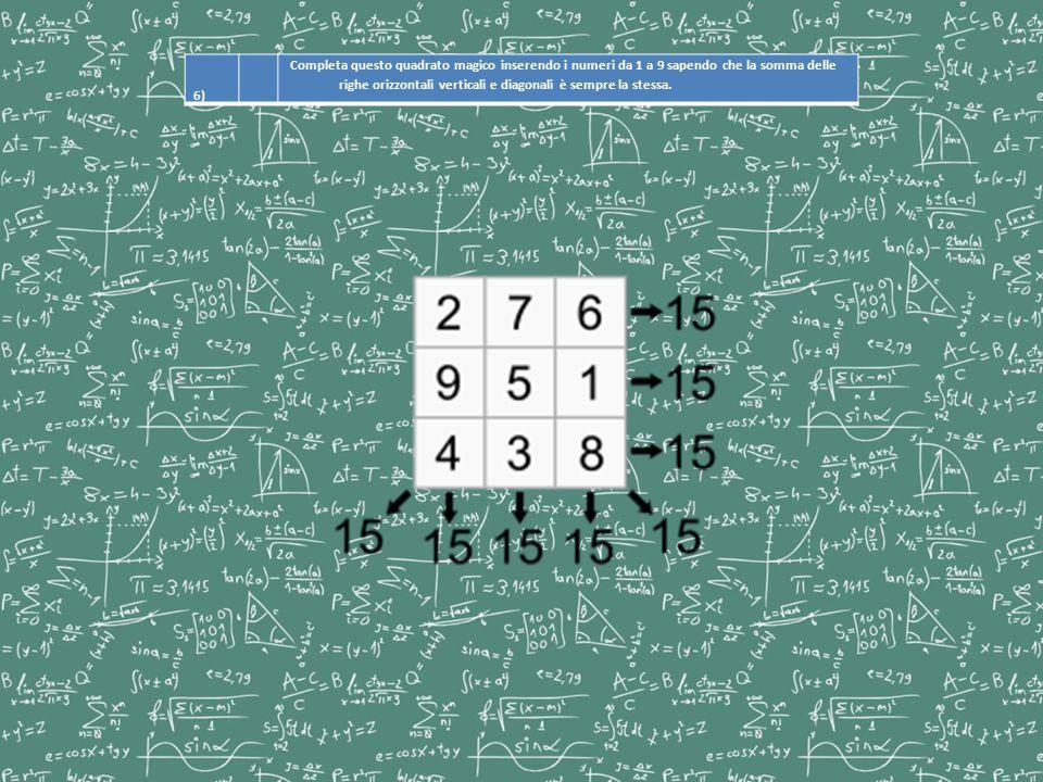 6) Completa questo quadrato magico inserendo i numeri da 1 a 9 sapendo che la somma delle righe orizzontali verticali e diagonali è sempre la stessa.