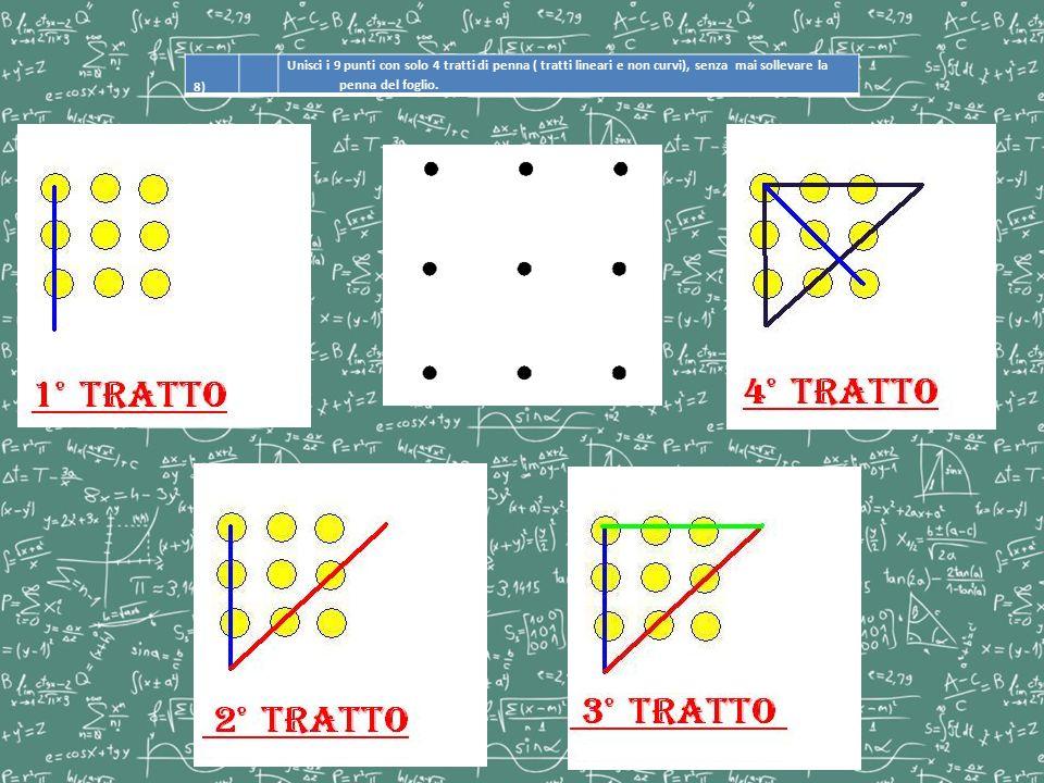 8) Unisci i 9 punti con solo 4 tratti di penna ( tratti lineari e non curvi), senza mai sollevare la penna del foglio.