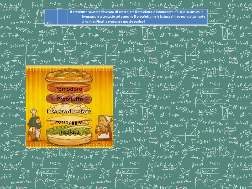 10) Il prosciutto va sopra l'insalata di patate; tra il prosciutto e il pomodoro c'è solo la lattuga; il formaggio è a contatto col pane; ne il prosci