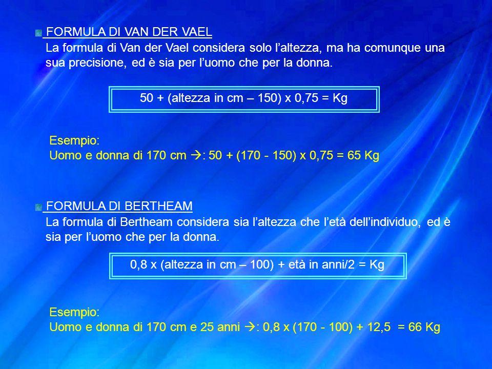 FORMULA DI VAN DER VAEL La formula di Van der Vael considera solo l'altezza, ma ha comunque una sua precisione, ed è sia per l'uomo che per la donna.