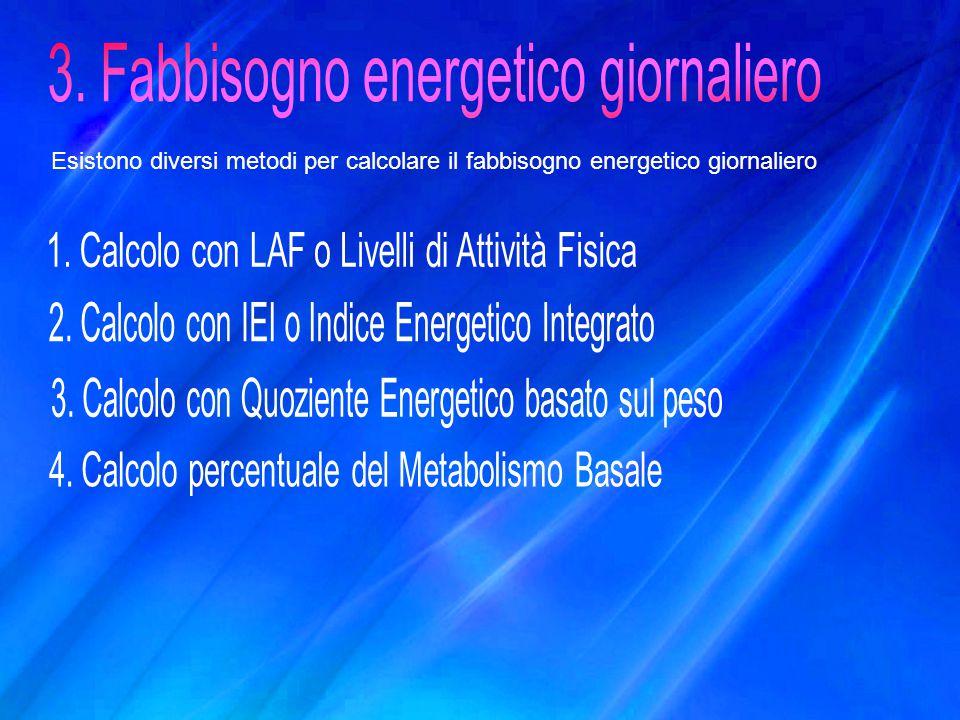 Esistono diversi metodi per calcolare il fabbisogno energetico giornaliero