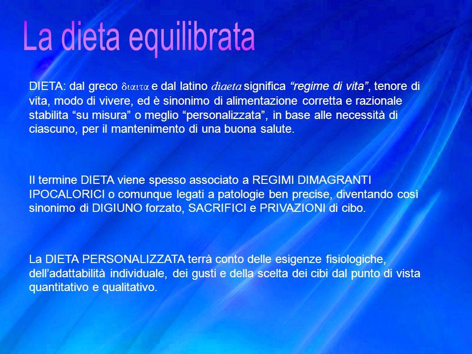 """DIETA: dal greco διαιτα e dal latino diaeta significa """"regime di vita"""", tenore di vita, modo di vivere, ed è sinonimo di alimentazione corretta e razi"""