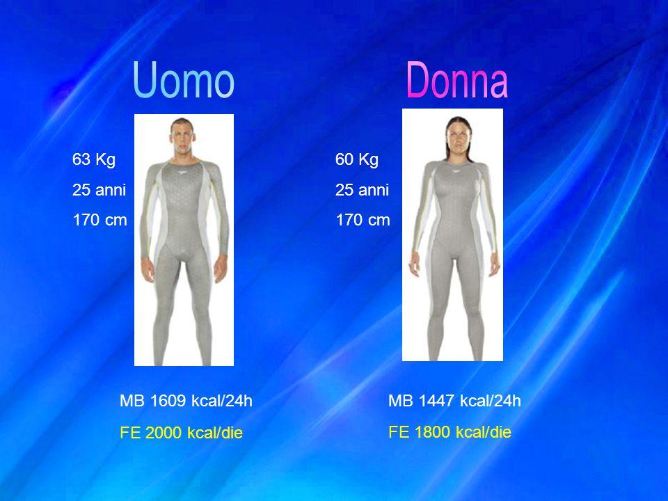 63 Kg 25 anni 170 cm 60 Kg 25 anni 170 cm MB 1609 kcal/24hMB 1447 kcal/24h FE 2000 kcal/die FE 1800 kcal/die
