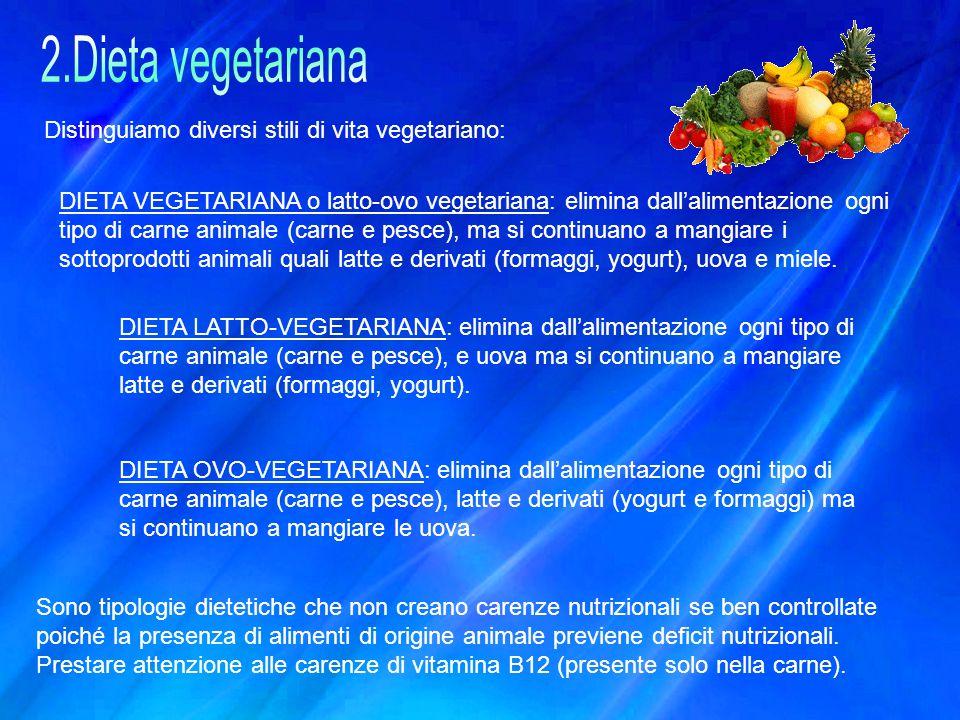 Distinguiamo diversi stili di vita vegetariano: DIETA VEGETARIANA o latto-ovo vegetariana: elimina dall'alimentazione ogni tipo di carne animale (carn