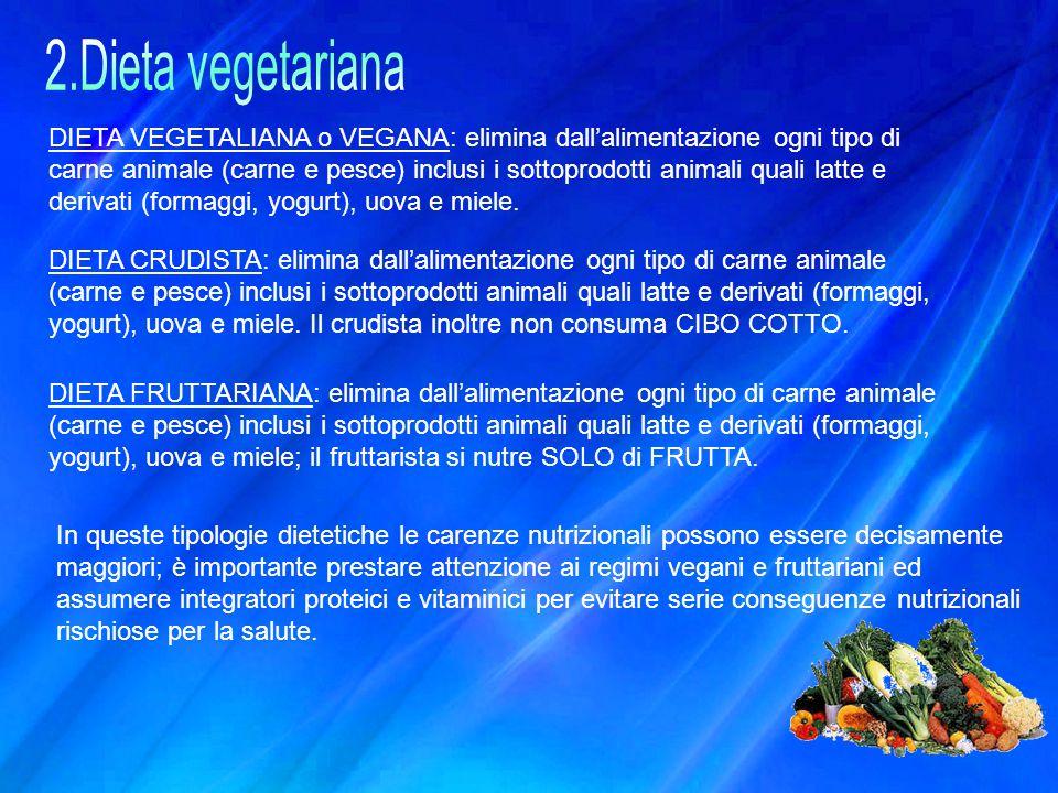 DIETA VEGETALIANA o VEGANA: elimina dall'alimentazione ogni tipo di carne animale (carne e pesce) inclusi i sottoprodotti animali quali latte e deriva
