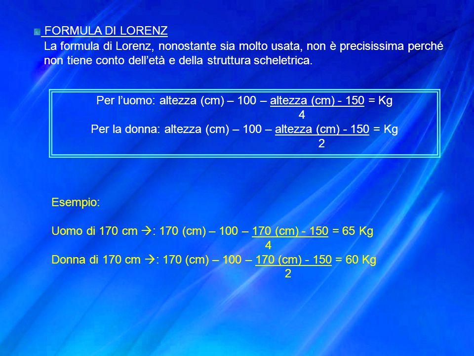 FORMULA DI LORENZ La formula di Lorenz, nonostante sia molto usata, non è precisissima perché non tiene conto dell'età e della struttura scheletrica.