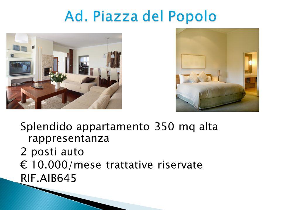  200 mq, non arredato  Salone di oltre 60 mq, 3 camere, 3 bagni, cucina, guardaroba/stireria, ingresso, 2 ripostigli, posto macchina  € 6.000/mese + spese condominiali € 250/mese  RIF.AIB246
