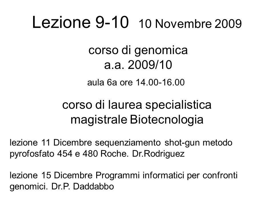 Lezione 9-10 10 Novembre 2009 corso di laurea specialistica magistrale Biotecnologia aula 6a ore 14.00-16.00 corso di genomica a.a.
