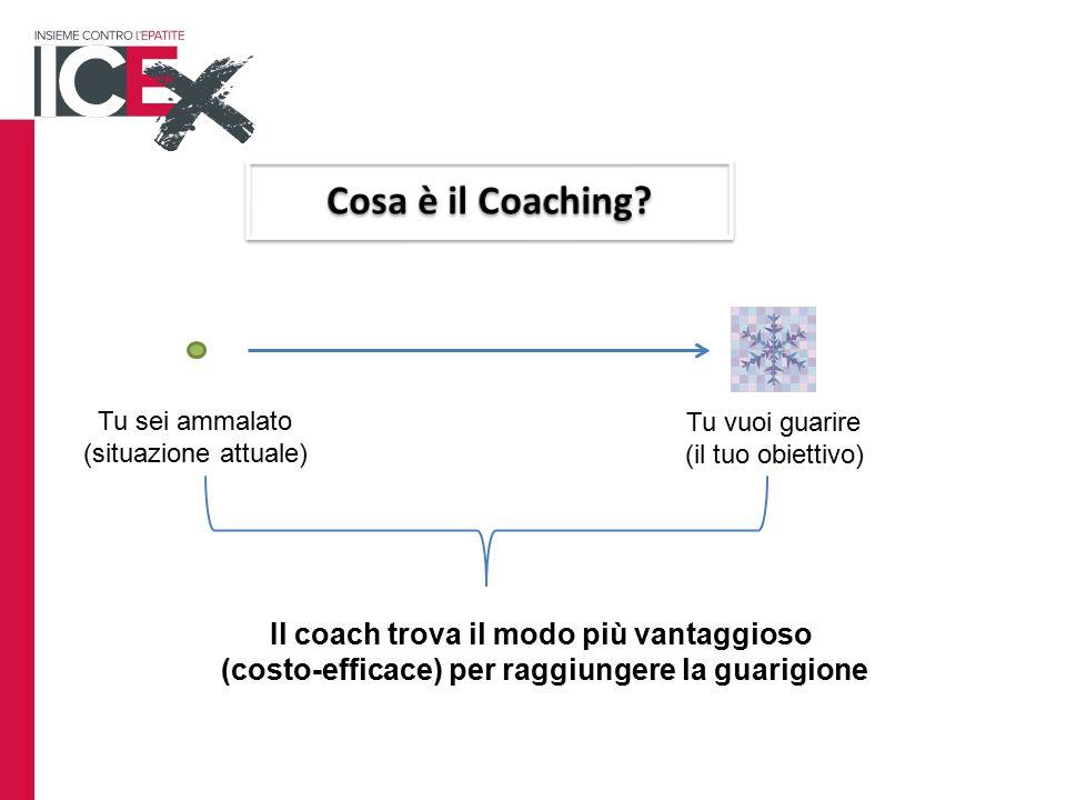 Tu sei ammalato (situazione attuale) Tu vuoi guarire (il tuo obiettivo) Il coach trova il modo più vantaggioso (costo-efficace) per raggiungere la guarigione