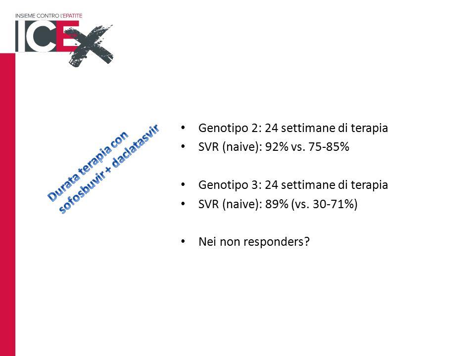 Genotipo 2: 24 settimane di terapia SVR (naive): 92% vs.