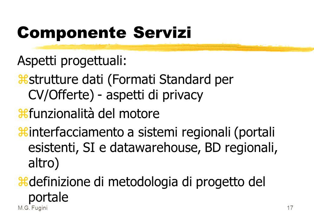 M.G. Fugini16 Componente Servizi Aspetti evidenziati nell'analisi: zSpazio Vetrina: pubblicazione di dati e trasmissibilità degli stessi su autorizzaz