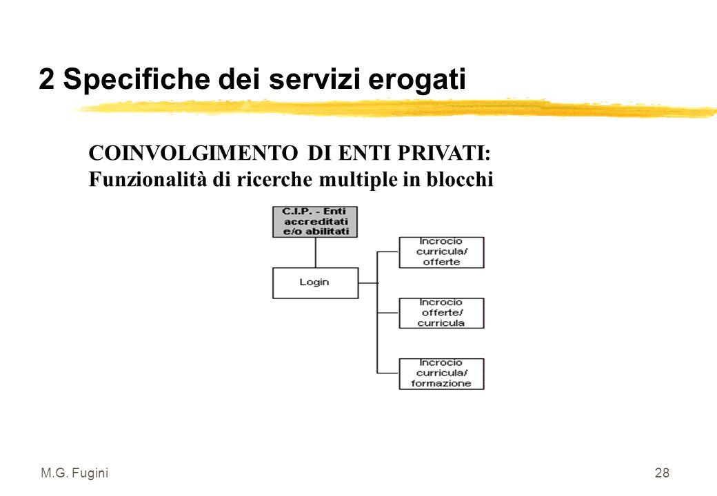M.G. Fugini27 2 Specifiche dei servizi erogati Dal matching CV/Offerte alla ricerca di Occasioni Formative