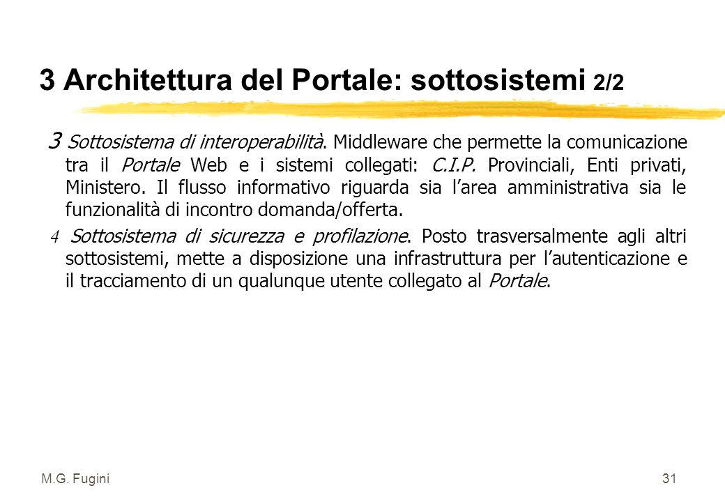 M.G. Fugini30 3 Architettura del Portale: sottosistemi 1/2 1 Sottosistema di memorizzazione. Basi dati contenenti le informazioni necessarie all'incon