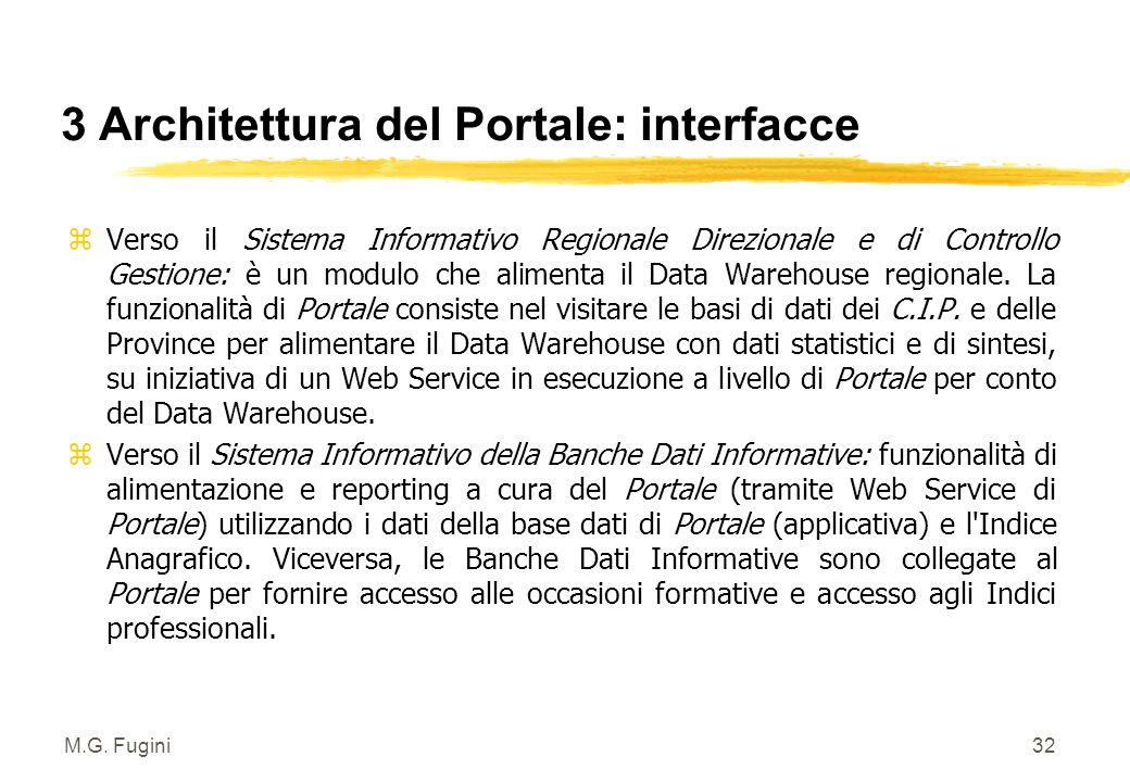 M.G. Fugini31 3 Architettura del Portale: sottosistemi 2/2 3 Sottosistema di interoperabilità. Middleware che permette la comunicazione tra il Portale