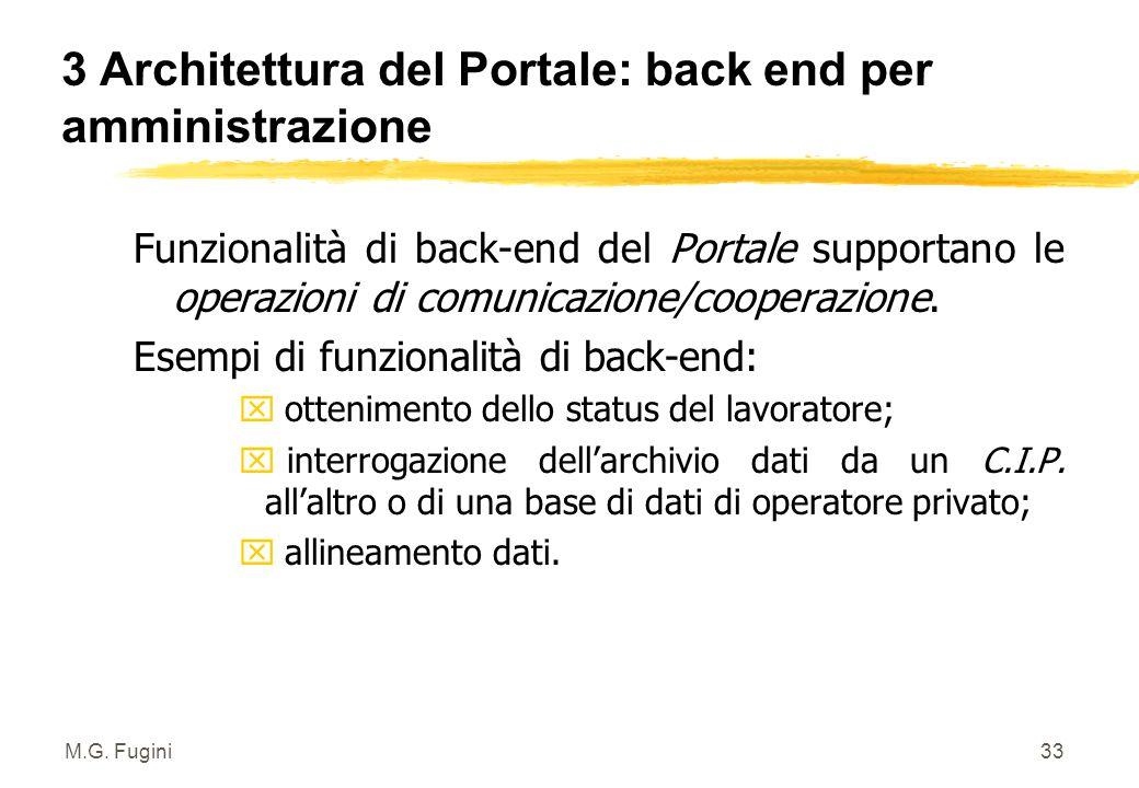 M.G. Fugini32 3 Architettura del Portale: interfacce z Verso il Sistema Informativo Regionale Direzionale e di Controllo Gestione: è un modulo che ali