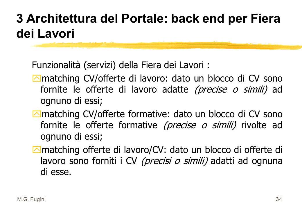 M.G. Fugini33 3 Architettura del Portale: back end per amministrazione Funzionalità di back-end del Portale supportano le operazioni di comunicazione/