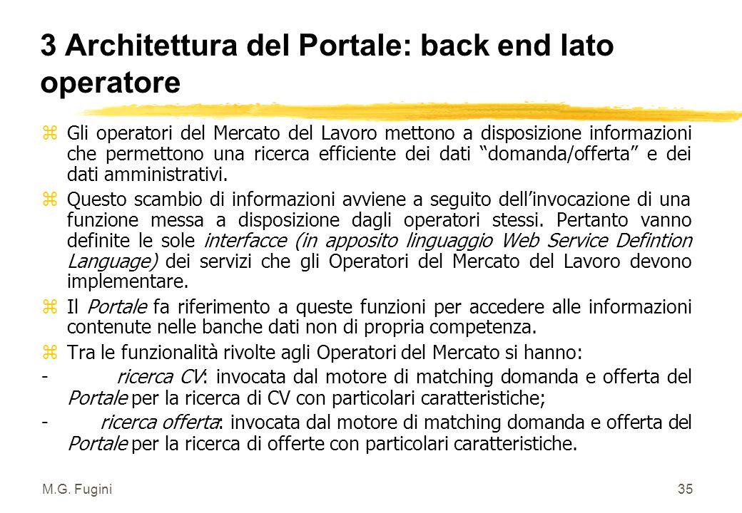 M.G. Fugini34 3 Architettura del Portale: back end per Fiera dei Lavori Funzionalità (servizi) della Fiera dei Lavori : y matching CV/offerte di lavor
