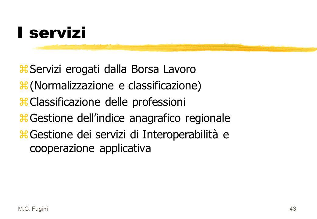 M.G. Fugini42 Livello: nodo regionale zVi accedono persone, imprese e operatori zComunica direttamente con i livelli nazionale e provinciale zI nodi r