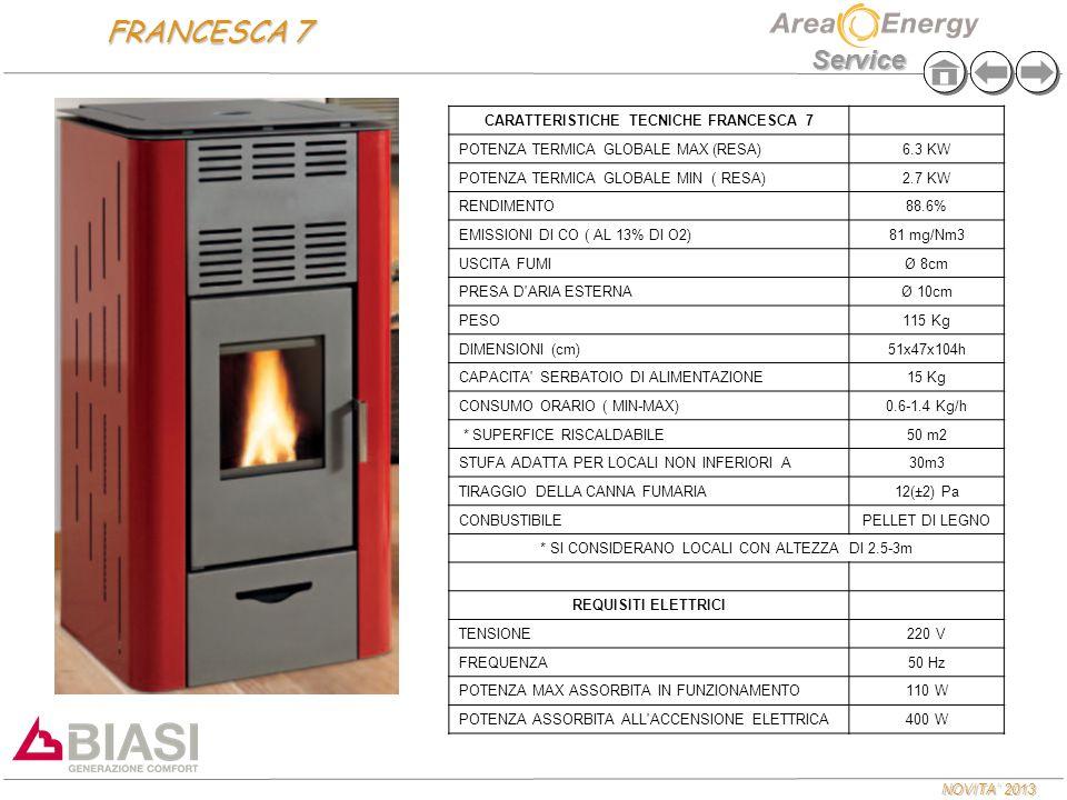 NOVITA' 2013 Service CARATTERISTICHE TECNICHE FRANCESCA 7 POTENZA TERMICA GLOBALE MAX (RESA)6.3 KW POTENZA TERMICA GLOBALE MIN ( RESA)2.7 KW RENDIMENT