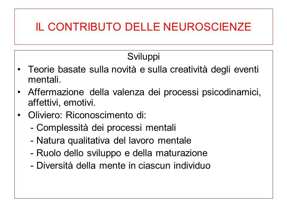 IL CONTRIBUTO DELLE NEUROSCIENZE Sviluppi Teorie basate sulla novità e sulla creatività degli eventi mentali. Affermazione della valenza dei processi