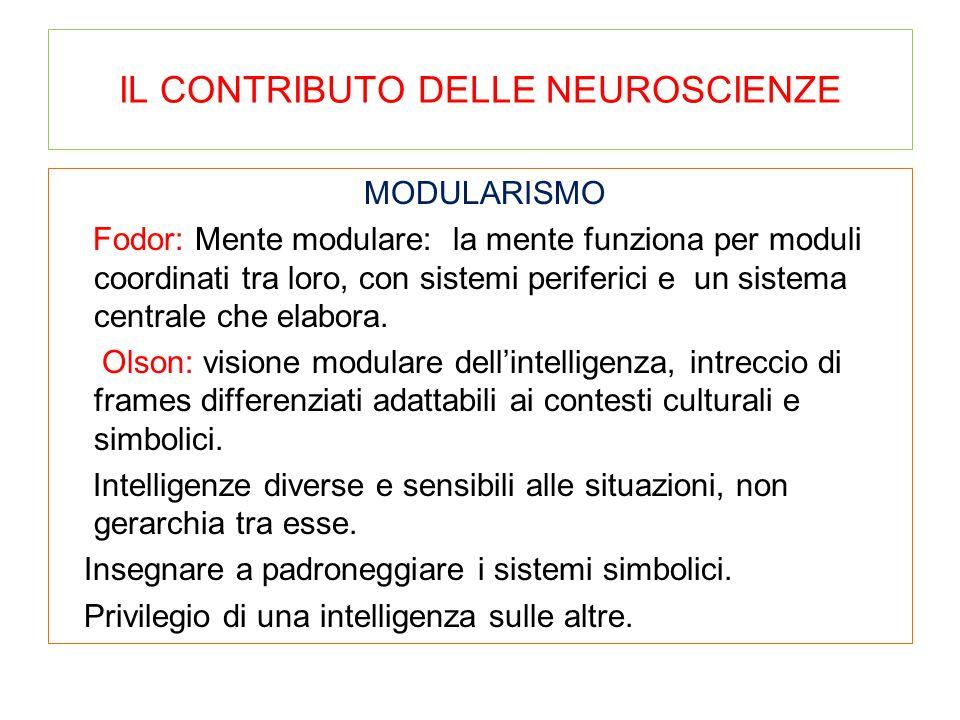 IL CONTRIBUTO DELLE NEUROSCIENZE MODULARISMO Fodor: Mente modulare: la mente funziona per moduli coordinati tra loro, con sistemi periferici e un sist