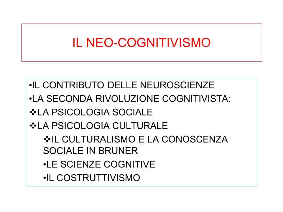 IL NEO-COGNITIVISMO IL CONTRIBUTO DELLE NEUROSCIENZE LA SECONDA RIVOLUZIONE COGNITIVISTA:  LA PSICOLOGIA SOCIALE  LA PSICOLOGIA CULTURALE  IL CULTU