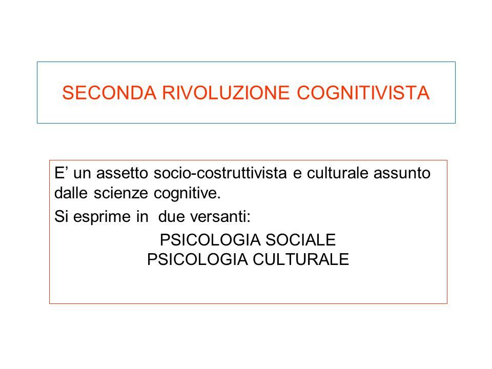 SECONDA RIVOLUZIONE COGNITIVISTA E' un assetto socio-costruttivista e culturale assunto dalle scienze cognitive. Si esprime in due versanti: PSICOLOGI