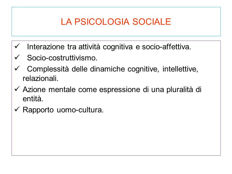 LA PSICOLOGIA SOCIALE Interazione tra attività cognitiva e socio-affettiva. Socio-costruttivismo. Complessità delle dinamiche cognitive, intellettive,