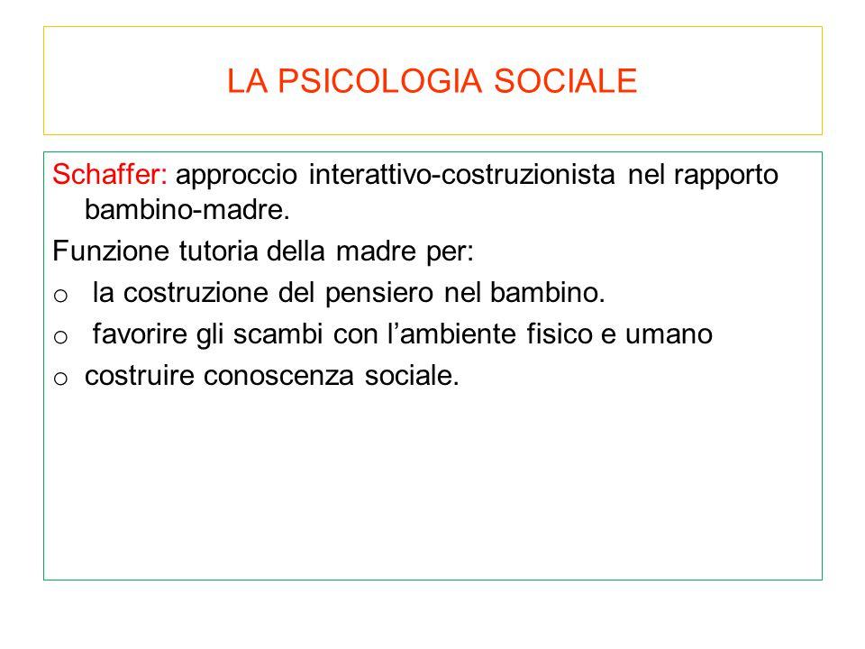 LA PSICOLOGIA SOCIALE Schaffer: approccio interattivo-costruzionista nel rapporto bambino-madre. Funzione tutoria della madre per: o la costruzione de