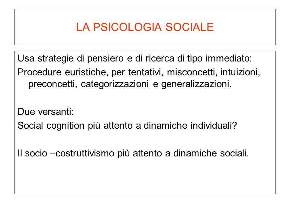 LA PSICOLOGIA SOCIALE Usa strategie di pensiero e di ricerca di tipo immediato: Procedure euristiche, per tentativi, misconcetti, intuizioni, preconce