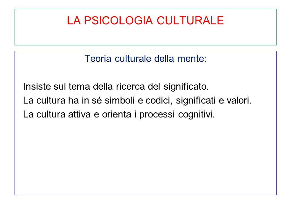 LA PSICOLOGIA CULTURALE Teoria culturale della mente: Insiste sul tema della ricerca del significato. La cultura ha in sé simboli e codici, significat