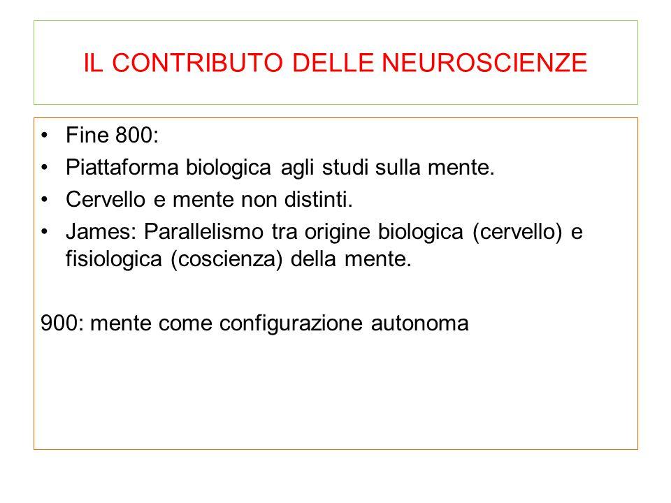 IL CONTRIBUTO DELLE NEUROSCIENZE Fine 800: Piattaforma biologica agli studi sulla mente. Cervello e mente non distinti. James: Parallelismo tra origin
