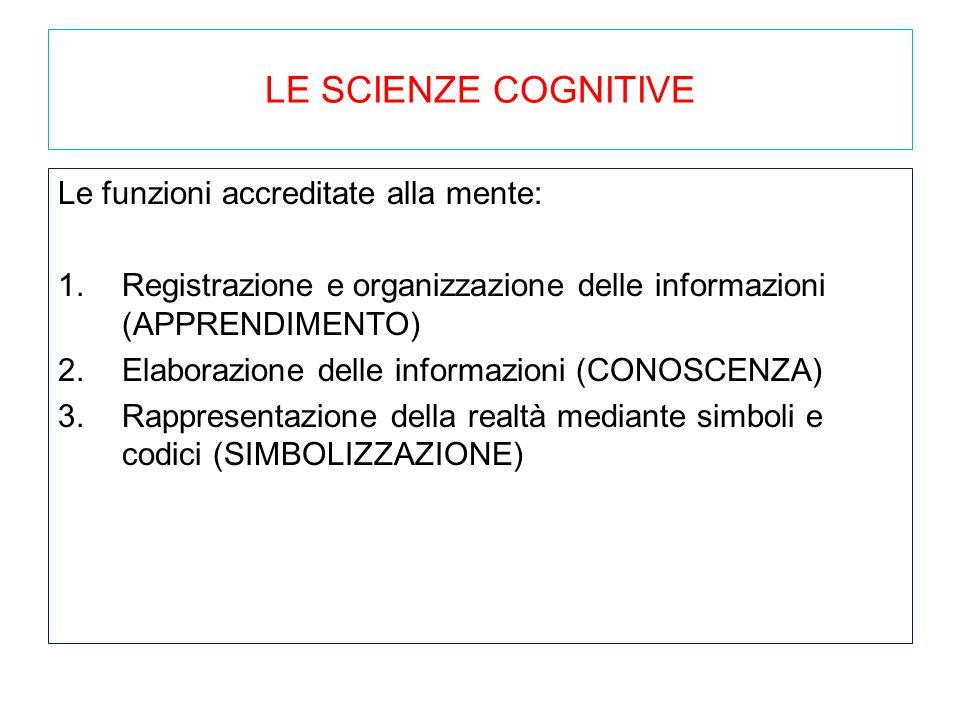 LE SCIENZE COGNITIVE Le funzioni accreditate alla mente: 1.Registrazione e organizzazione delle informazioni (APPRENDIMENTO) 2.Elaborazione delle info