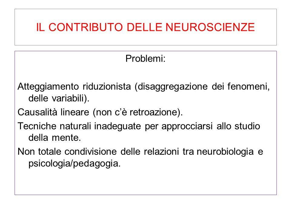 IL CONTRIBUTO DELLE NEUROSCIENZE Problemi: Atteggiamento riduzionista (disaggregazione dei fenomeni, delle variabili). Causalità lineare (non c'è retr