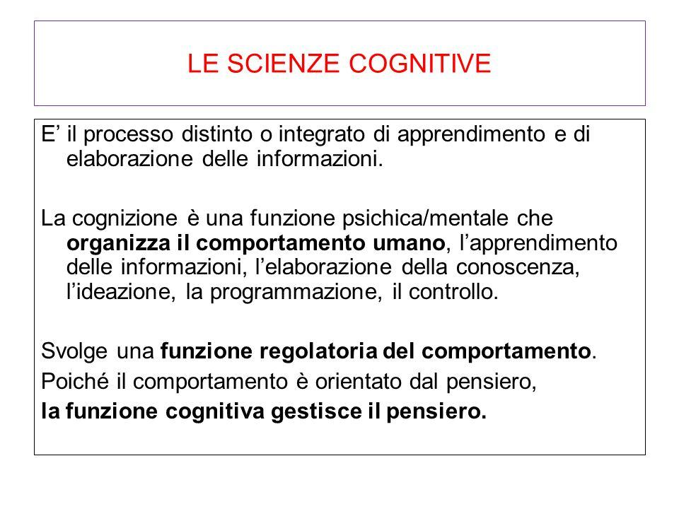 LE SCIENZE COGNITIVE E' il processo distinto o integrato di apprendimento e di elaborazione delle informazioni. La cognizione è una funzione psichica/
