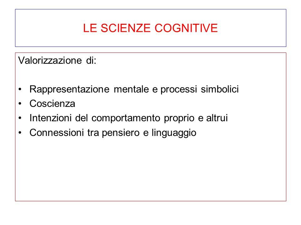 LE SCIENZE COGNITIVE Valorizzazione di: Rappresentazione mentale e processi simbolici Coscienza Intenzioni del comportamento proprio e altrui Connessi