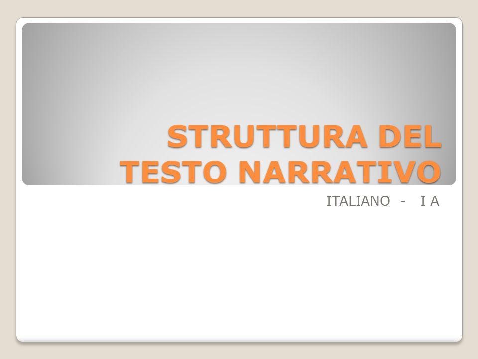 STRUTTURA DEL TESTO NARRATIVO ITALIANO - I A