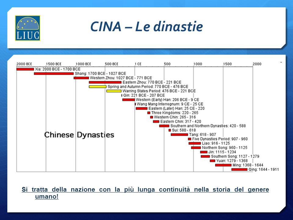 CINA – Le dinastie Si tratta della nazione con la più lunga continuità nella storia del genere umano!