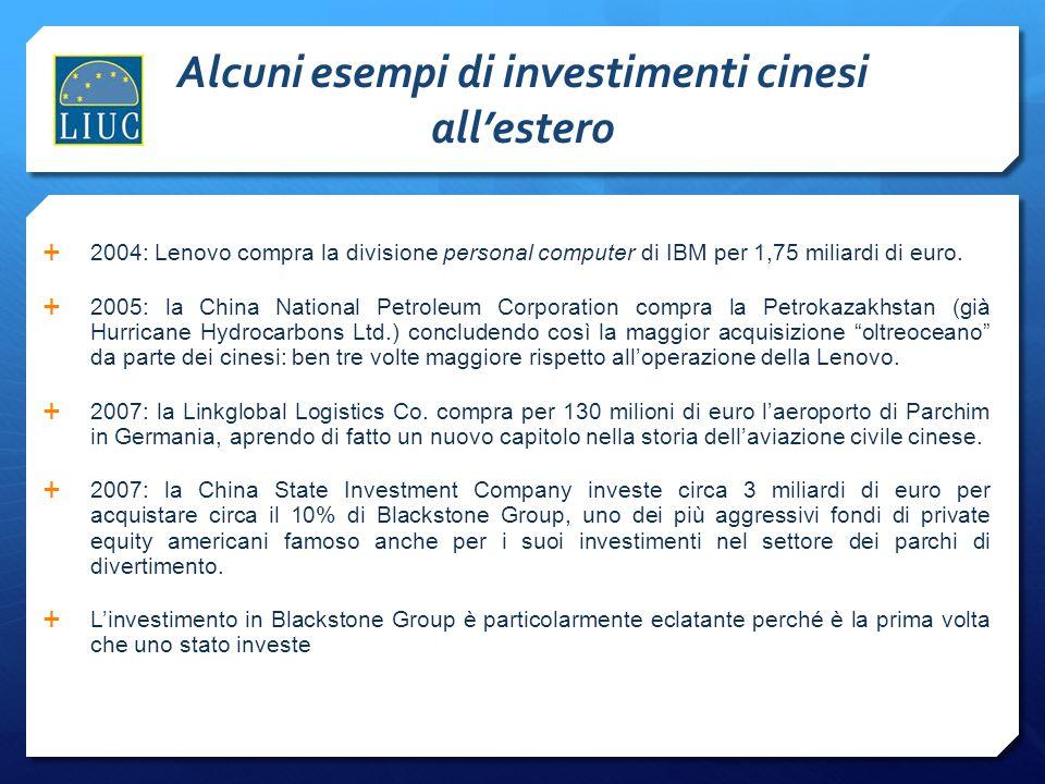 Alcuni esempi di investimenti cinesi all'estero  2004: Lenovo compra la divisione personal computer di IBM per 1,75 miliardi di euro.  2005: la Chin